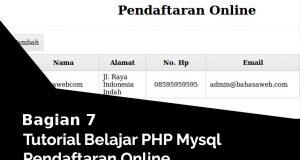 Menampilkan Daftar Anggota Pendaftaran Online Dari Database Di Halaman Utama