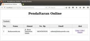 menampilkan data anggota pendaftaran online di halaman utama