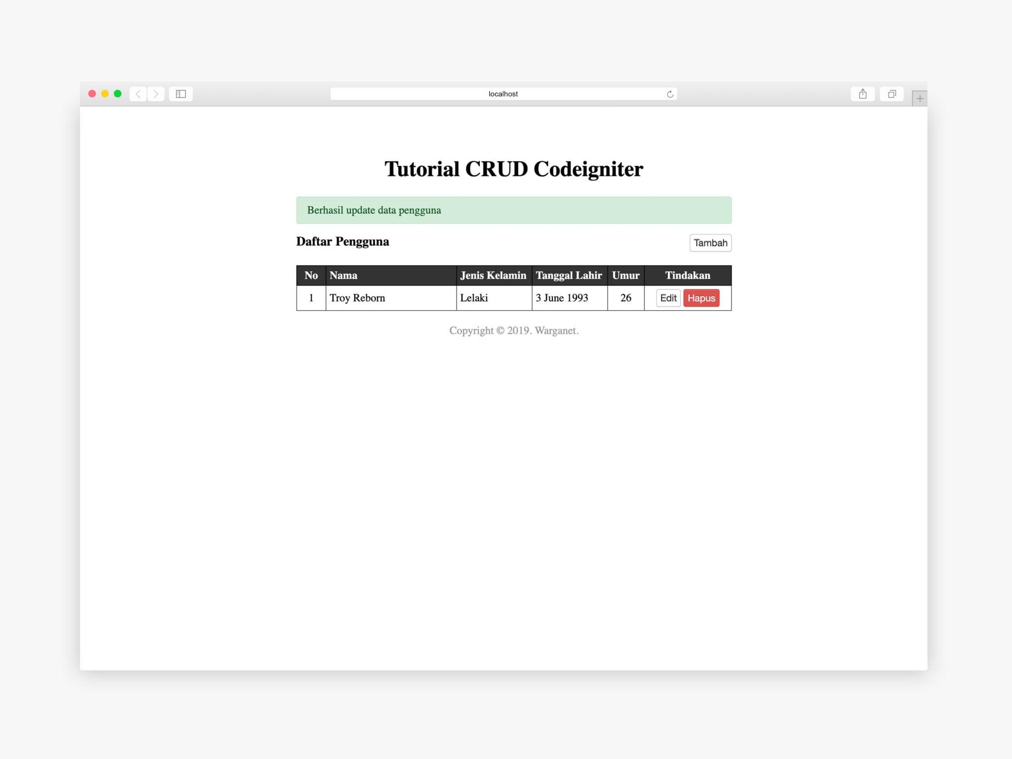 edit pengguna codeigniter