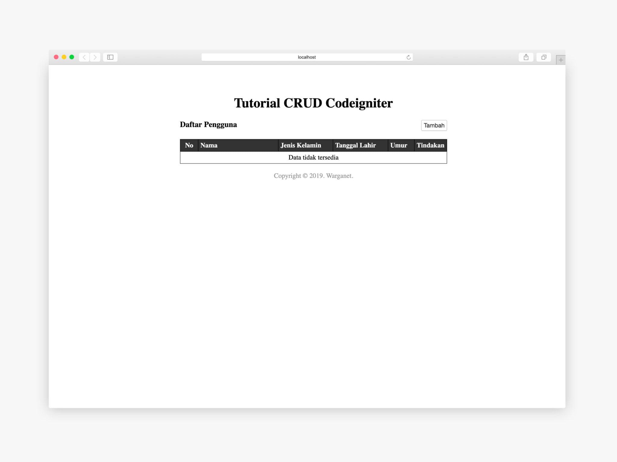 daftar pengguna codeigniter