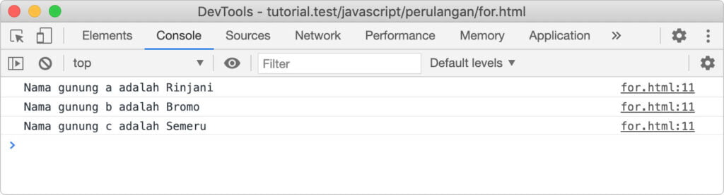 perulangan pada javascript for in