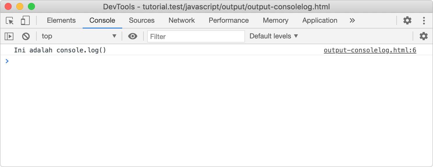 Menampilkan output javascript