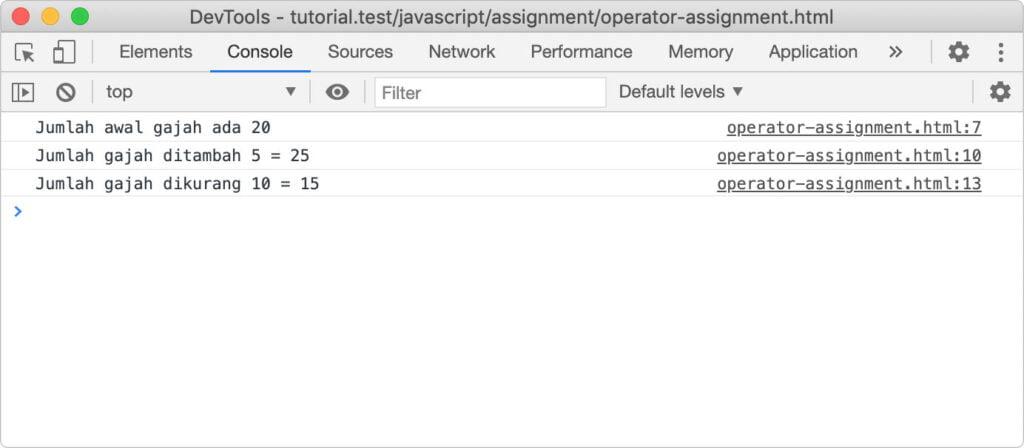 operator assignment (penugasan) pada javascript