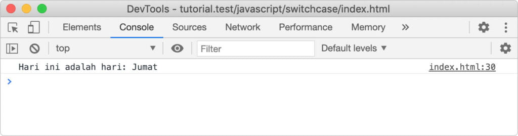Switch case pada javascript