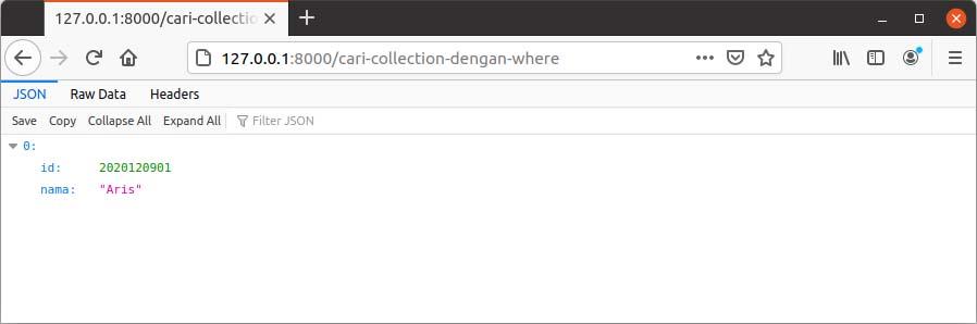 Cari data array collection dengan where