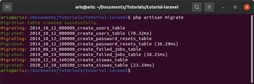 menjalankan migration di laravel database