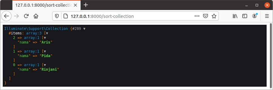 SortBy array di laravel collection
