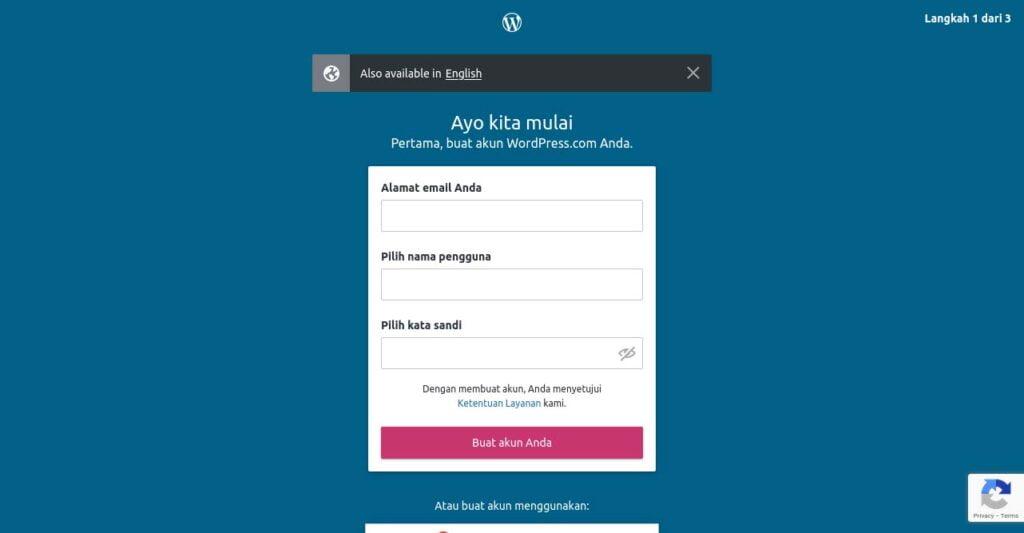 step 2 formulir pendaftaran wordpress.com cara membuat website sendiri