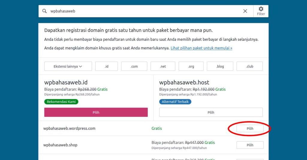 step 4 pilih wordpress.com gratis cara membuat website sendiri
