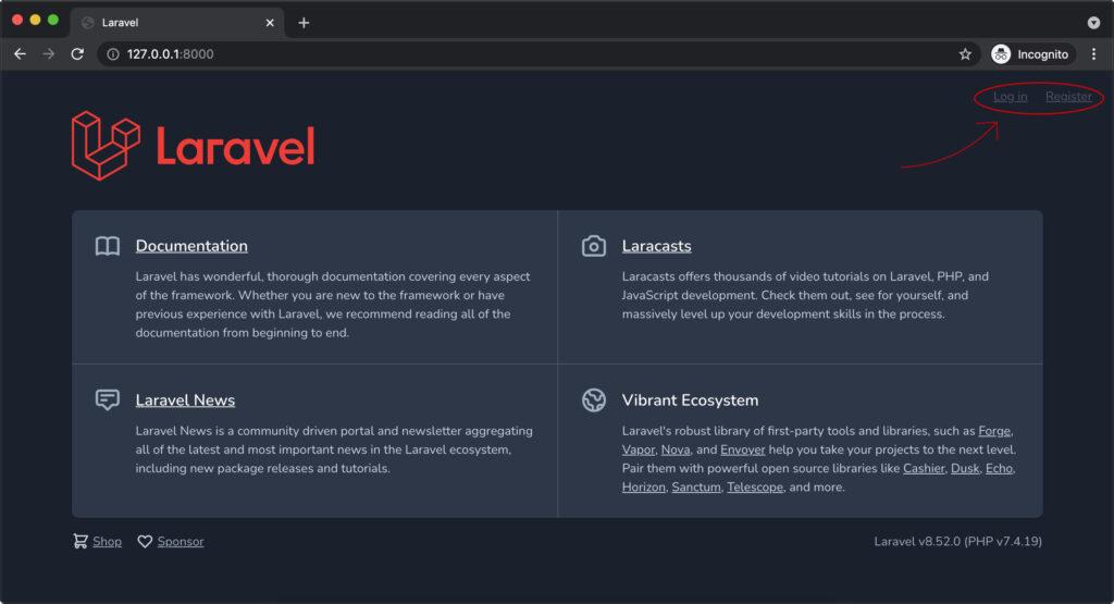 Halaman utama laravel 8 dengan autentikasi