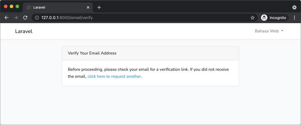 verifikasi email pendaftaran laravel
