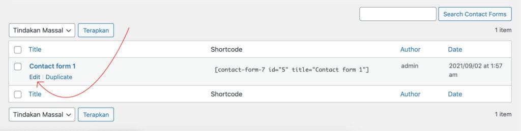 Edit Contact Form 1 formulir kontak di wordpress