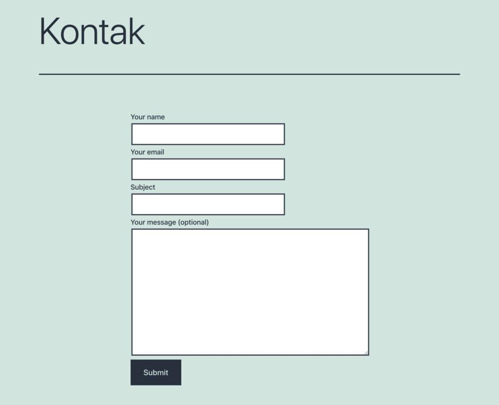 Hasil akhir tampilan formulir kontak di wordpress