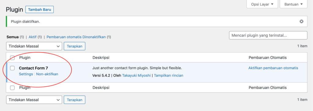 Halaman plugin contact form 7 wordpress
