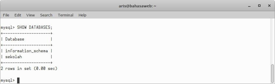 Melihat database di mysql