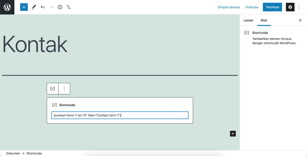 Membuat halaman formulir kontak di wordpress