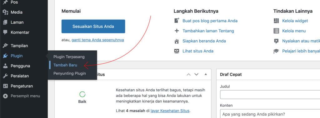 Tambah plugin WordPress